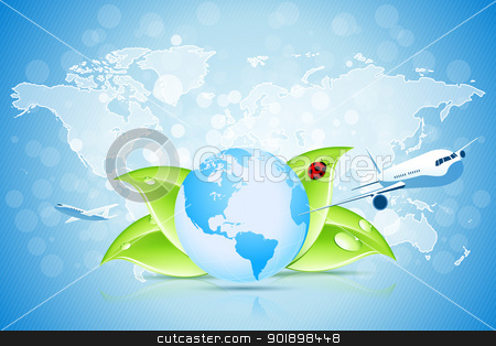 Planet Earth with World Map stock vector clipart, Planet Earth with World Map and Two Aircrafts by Vadym Nechyporenko