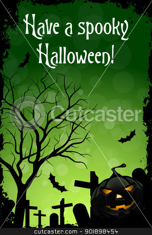 Have a Spooky Halloween stock vector clipart, Abstract Green Halloween Card with Message