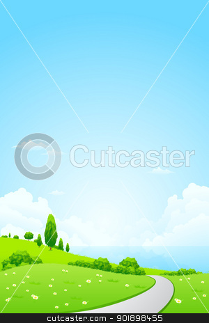 Green Landscape with Flowers stock vector clipart, Green Landscape with Flowers, Road and Lake by Vadym Nechyporenko