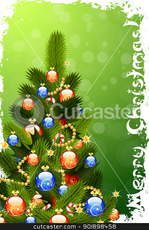 Merry Christmas Greeting Card stock vector clipart, Merry Christmas Greeting Card with Christmas Tree by Vadym Nechyporenko