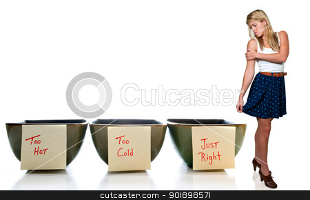 Woman and Porridge Bowls stock photo, Beautiful Goldilocks woman with bowls of too hot, too cold and just right porridge by Robert Byron