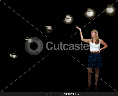 Moon and Star stock photo, A serries of full moons across the night sky by Robert Byron
