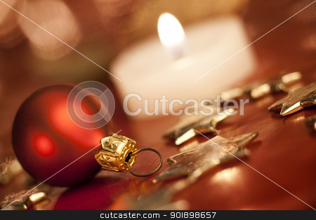 Christmas ball. stock photo, Christmas decoration with bauble. Shallow depth of field, focus on bauble, by Piotr Skubisz