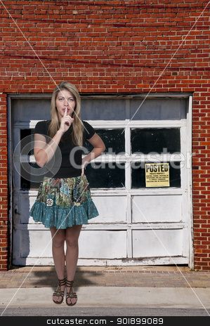 Woman Saying Be Quiet stock photo, A woman saying be quiet by saying shhh by Robert Byron