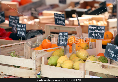 Stand of fruits in market stock photo, Stand of fruits in market by photography33