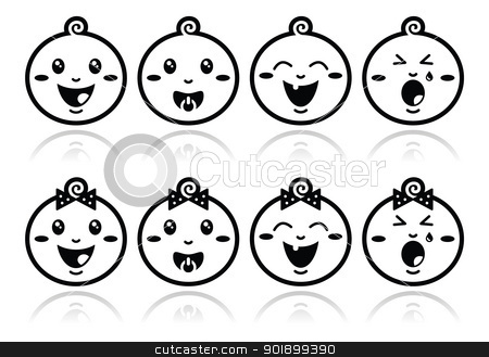 Baby boy, baby girl face - crying, with soother, smile black icons stock vector clipart,  by Agnieszka Murphy