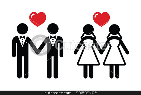 Gay marriage icons set stock vector clipart, Lesbian, gay wedding black icons by Agnieszka Murphy