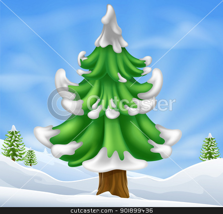 Christmas tree scene stock vector clipart, Cartoon illustration of winter scene and Christmas tree by Christos Georghiou