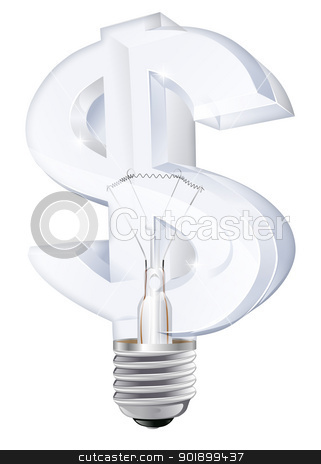 Dollar light bulb concept stock vector clipart, Illustration of an electric light bulb in the shape of a dollar sign. Concept for energy costs, energy efficient lightbulbs, money making ideas or other by Christos Georghiou