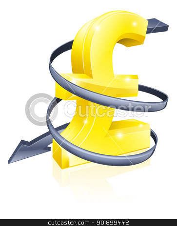 Falling Pound stock vector clipart, Conceptual finance or economy concept of falling price of the Pound exchange rate or just falling profits by Christos Georghiou