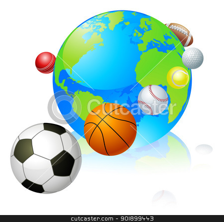 Sports globe world concept stock vector clipart, Sports globe world concept, a globe with different sports balls flying around it. by Christos Georghiou