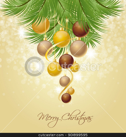 Christmas background stock vector clipart, Christmas balls on green spruce branch  by Miroslava Hlavacova