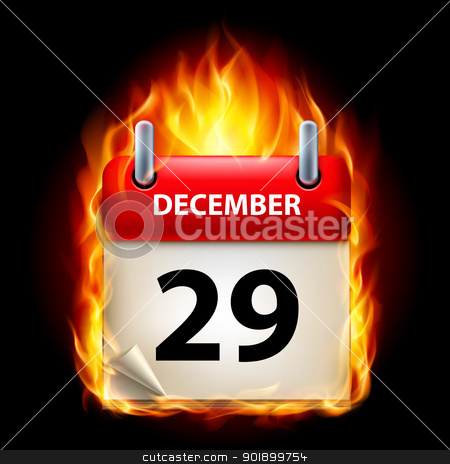 Burning calendar stock photo, Twenty-ninth December in Calendar. Burning Icon on black background by dvarg