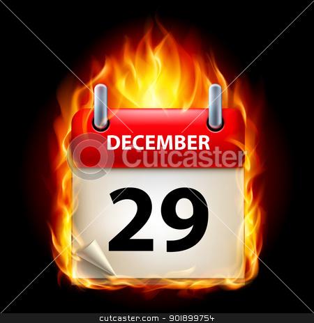 Burning calendar stock photo, Twenty-ninth December in Calendar. Burning Icon on black background by dvarg