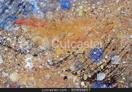 blobs of paints - workbench of painter stock photo, Detail of the chipboard workbench of painter - blobs of paints by Siloto