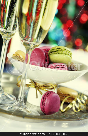 Colorful macaroons and Champagne stock photo, Colorful macaroons and Champagne on Christmass tree background by klenova