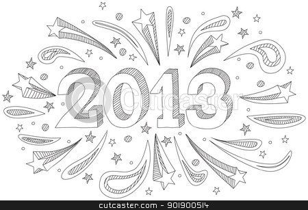 New Year 2013 stock vector clipart, Happy New Year 2013 doodle by nahhan