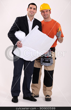 Tradesman and engineer working together stock photo, Tradesman and engineer working together by photography33