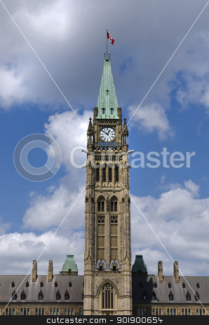 Straight Politics stock photo, The canadian Parliament Centre Block during lunch hour in Ottawa, Canada. by Michel Loiselle