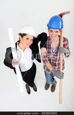 High-angle shot of a tradeswoman standing next to an engineer stock photo, High-angle shot of a tradeswoman standing next to an engineer by photography33