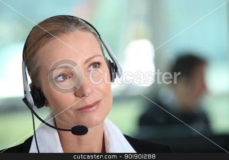 Woman with headset stock photo, Woman with headset by photography33