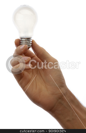 Hand with lamp stock photo, Hand with lamp isolated on white background by Antartis