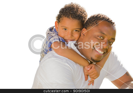Mixed Race Father and Son Playing Piggyback On White stock photo, Happy African American Father and Mixed Race Son Playing Piggyback Isolated On A White Background. by Andy Dean