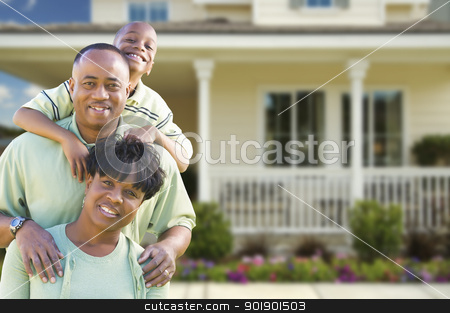 Attractive African American Family in Front of Home stock photo, Happy Attractive African American Family in Front of Beautiful House. by Andy Dean