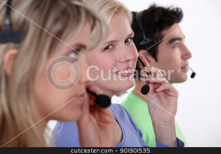 Team of teleworkers stock photo, Team of teleworkers by photography33