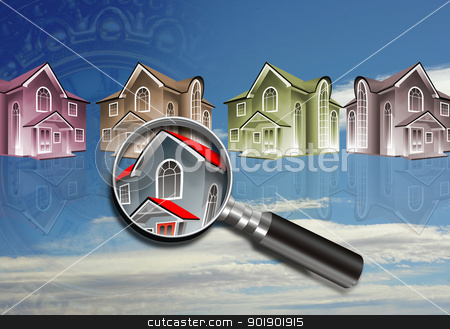 Homes under the looking glass. stock photo,  by WScott