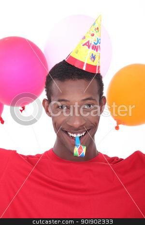 black man at birthday's party stock photo, black man at birthday's party by photography33