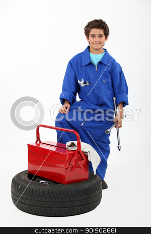 Children dressed as a mechanic stock photo, Children dressed as a mechanic by photography33