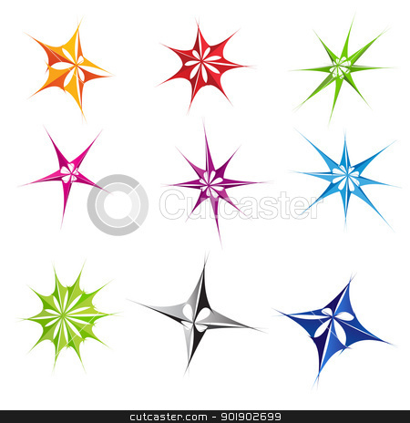 Abstract stars stock photo, Set of different abstract stars icons for your design. by dvarg