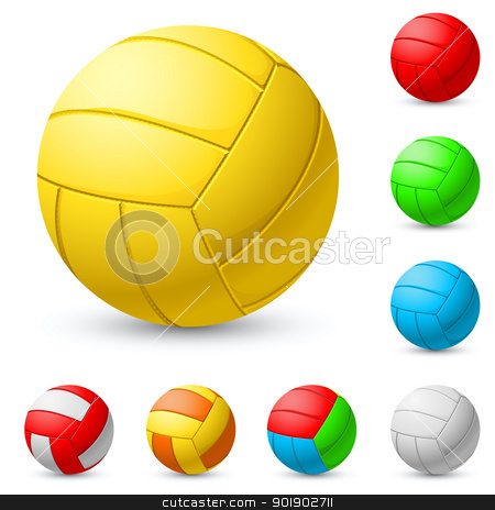 Realistic volleyball stock photo, Realistic volleyball in different colors. Illustration on white background by dvarg