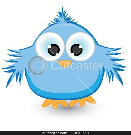 Cartoon blue sparrow stock photo, Cartoon blue sparrow. Illustration on white background by dvarg
