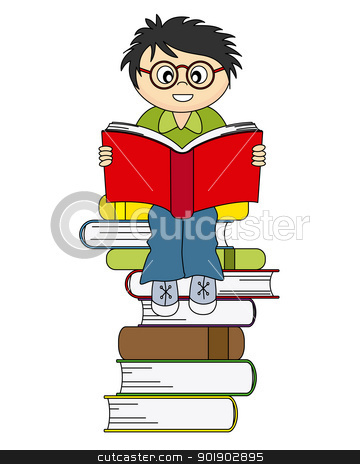 boy reading a book stock vector clipart, boy reading a book. Drawing isolated white background  by sbego