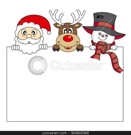vector xmas illustration stock vector clipart, vector xmas illustration of santa claus, reindeer and snowmann by sbego