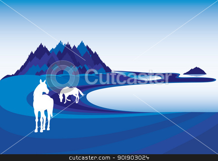 Horse silhouette stock photo, Horse silhouette. Vector illustration on blue landscape by dvarg