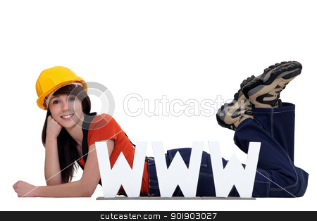 craftswoman posing behind a WWW ad stock photo, craftswoman posing behind a WWW ad by photography33