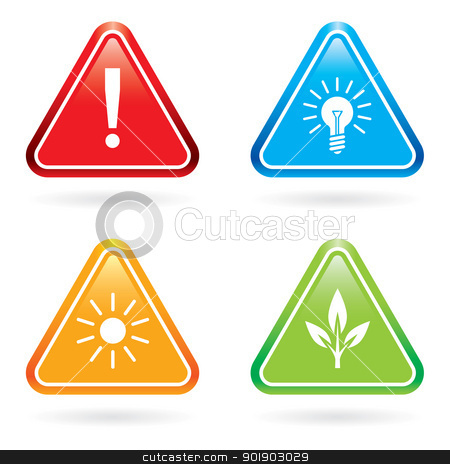 Triangle signs or icons. stock photo, Triangle signs or icons. Vector illustration on white background by dvarg