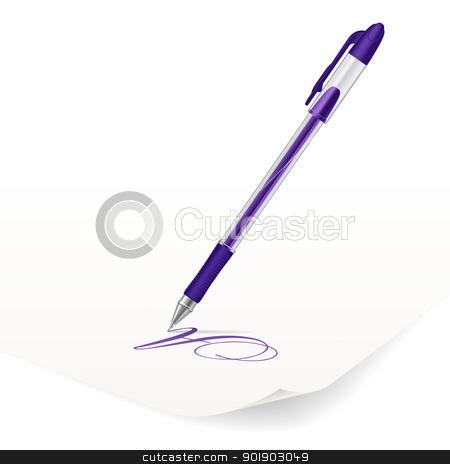 Ballpoint pen stock photo, Vector image of violet ballpoint pen writing on paper by dvarg