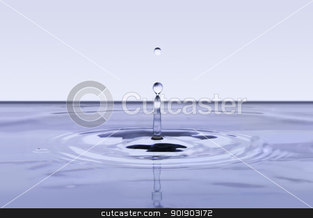 Falling water drop stock photo, The real falling water drop with water bubbles   by dvarg