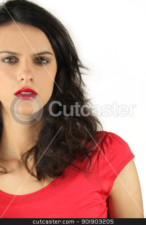Surprised woman on beige background stock photo, Surprised woman on beige background by photography33