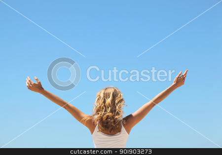 Woman with arms in the air stock photo, Woman with arms in the air by photography33