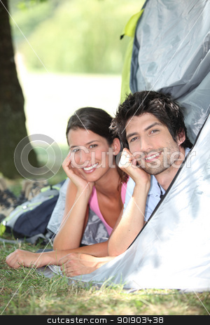 Couple in a tent stock photo, Couple in a tent by photography33