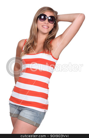 portrait of a young girl in summer clothes stock photo, portrait of a young girl in summer clothes by photography33