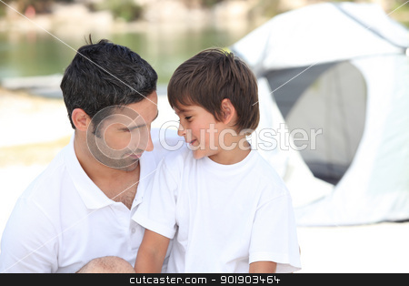Family and son camping together stock photo, Family and son camping together by photography33