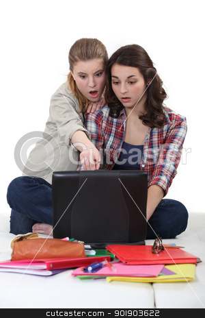Two female student on a computer. stock photo, Two female student on a computer. by photography33