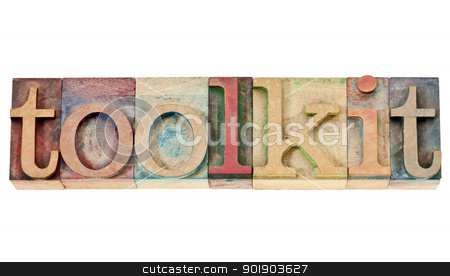 toolkit word in wood type stock photo, toolkit -  a set of tools or software -isolated word in vintage letterpress wood type stained by color inks isolated word in vintage letterpress wood type stained by color inks by Marek Uliasz