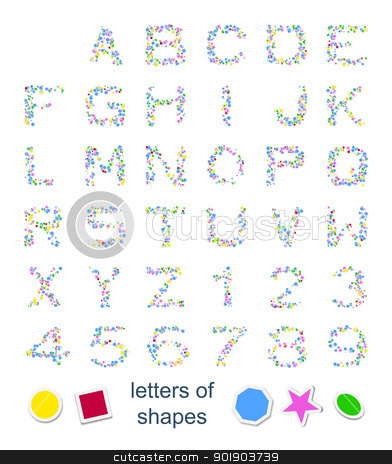 letters of shapes stock photo, An image with some colorful letters of shapes by Markus Gann